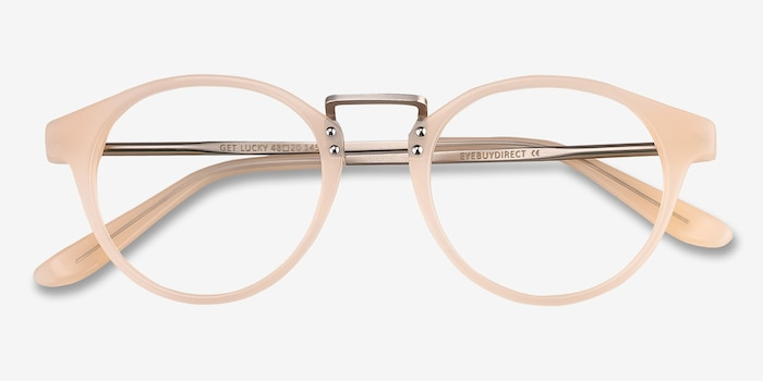 Get Lucky Ivory/Silver Acetate Eyeglass Frames from EyeBuyDirect, Closed View