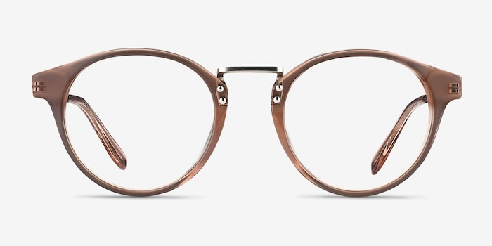 Get Lucky Brown/Silver Acetate Eyeglass Frames from EyeBuyDirect, Front View