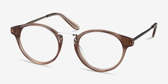 Get Lucky Brown/Silver Metal Eyeglass Frames from EyeBuyDirect, Angle View