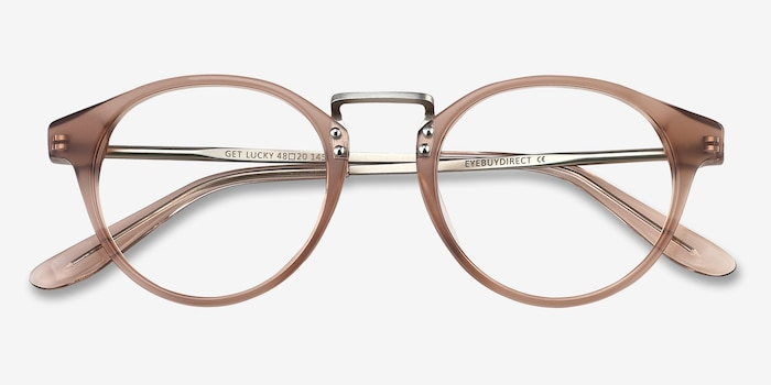 Get Lucky Brown/Silver Acetate Eyeglass Frames from EyeBuyDirect, Closed View