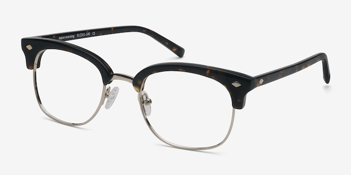 Japan Morning  Dark Tortoise  Acetate Eyeglass Frames from EyeBuyDirect, Angle View