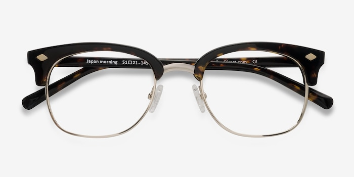 Japan Morning  Dark Tortoise  Acetate Eyeglass Frames from EyeBuyDirect, Closed View