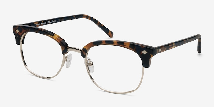 Japan Morning  Tortoise  Acetate Eyeglass Frames from EyeBuyDirect, Angle View