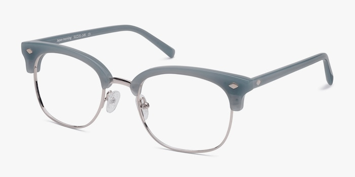 Japan Morning  Blue  Acetate Eyeglass Frames from EyeBuyDirect, Angle View