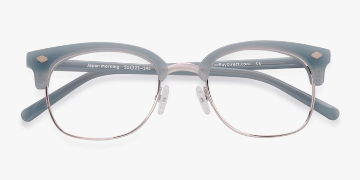 Japan Morning  Blue  Acetate Eyeglass Frames from EyeBuyDirect, Closed View