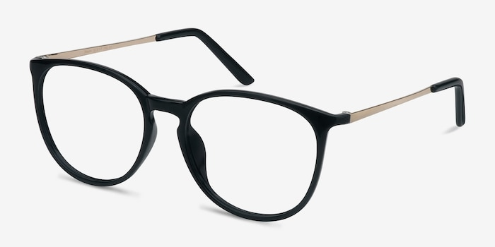 Naomi Black Metal Eyeglass Frames from EyeBuyDirect, Angle View