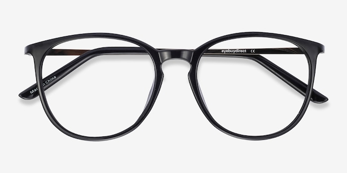 Naomi Black Metal Eyeglass Frames from EyeBuyDirect, Closed View