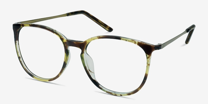 Naomi Tortoise Metal Eyeglass Frames from EyeBuyDirect, Angle View