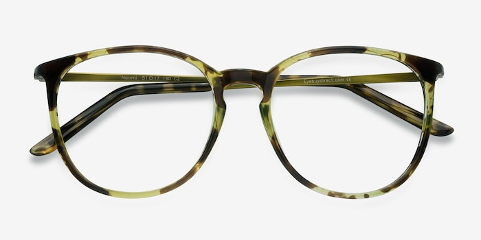 Naomi Tortoise Metal Eyeglass Frames from EyeBuyDirect, Closed View