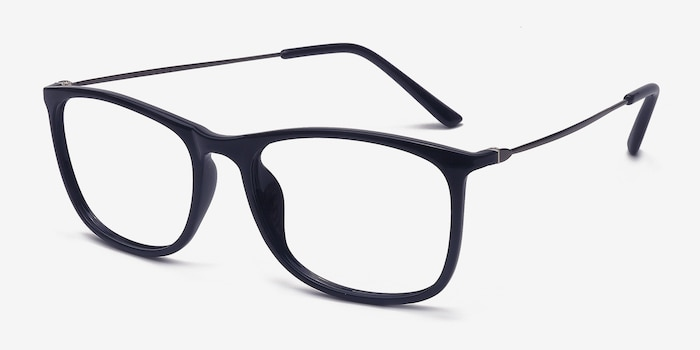 Hurricane Black Plastic Eyeglass Frames from EyeBuyDirect, Angle View