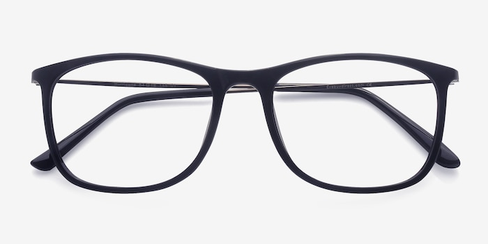 Hurricane Black Plastic Eyeglass Frames from EyeBuyDirect, Closed View