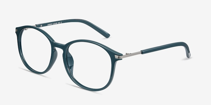 Lindsey Green Plastic Eyeglass Frames from EyeBuyDirect, Angle View