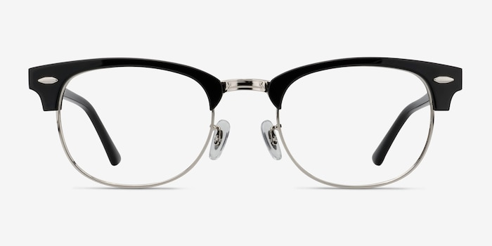 Sweet Janet Black Silver Metal Eyeglass Frames from EyeBuyDirect, Front View