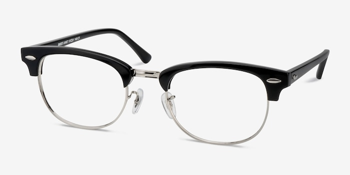 Sweet Janet Black Silver Metal Eyeglass Frames from EyeBuyDirect, Angle View