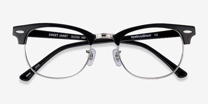 Sweet Janet Black Silver Metal Eyeglass Frames from EyeBuyDirect, Closed View