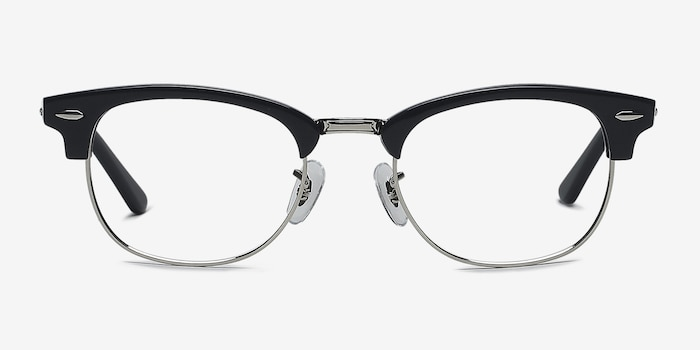 Sweet Janet Navy Silver Acetate Eyeglass Frames from EyeBuyDirect, Front View