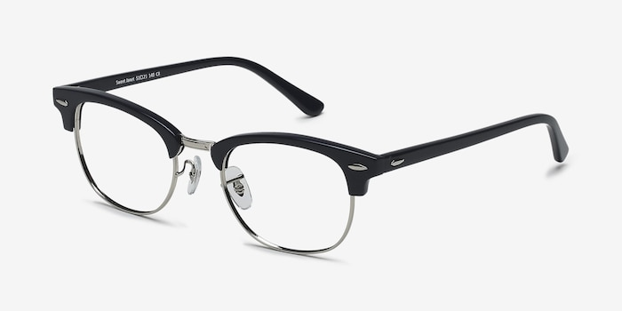 Sweet Janet Navy Silver Acetate Eyeglass Frames from EyeBuyDirect, Angle View