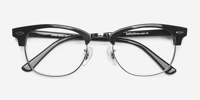 Sweet Janet Navy Silver Acetate Eyeglass Frames from EyeBuyDirect, Closed View