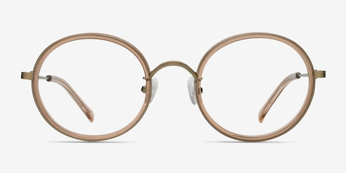 Gemini Light Brown Acétate Montures de Lunettes d'EyeBuyDirect, Vue de Face