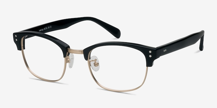 Look Up Black Acetate Eyeglass Frames from EyeBuyDirect, Angle View