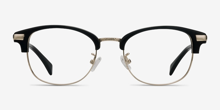 Kinjin Black Acetate Eyeglass Frames from EyeBuyDirect, Front View