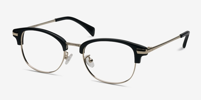 Kinjin Black Metal Eyeglass Frames from EyeBuyDirect, Angle View