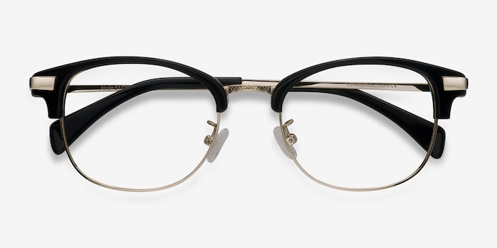 Kinjin Black Metal Eyeglass Frames from EyeBuyDirect, Closed View