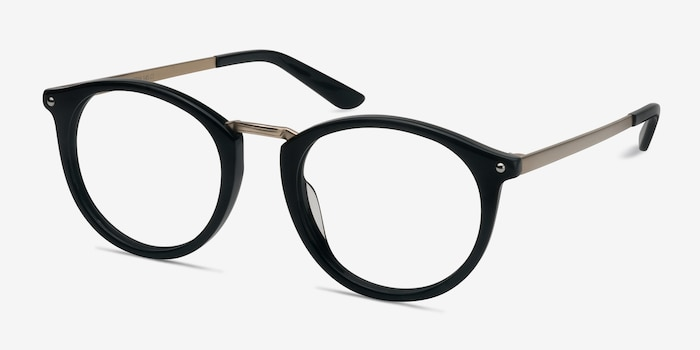 La Femme Black Acetate Eyeglass Frames from EyeBuyDirect, Angle View