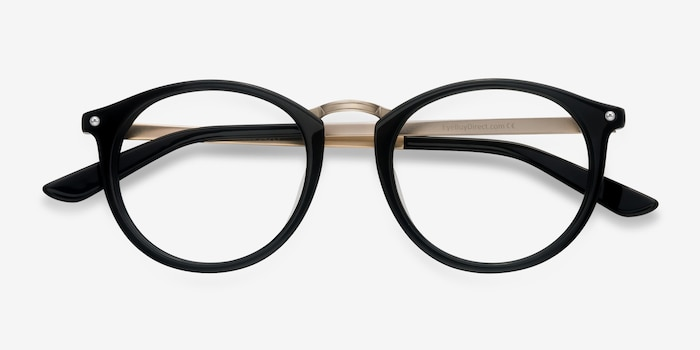 La Femme Black Acetate Eyeglass Frames from EyeBuyDirect, Closed View
