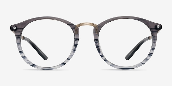 La Femme Gray Striped Metal Eyeglass Frames from EyeBuyDirect, Front View