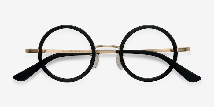 Roaring Black Metal Eyeglass Frames from EyeBuyDirect, Closed View