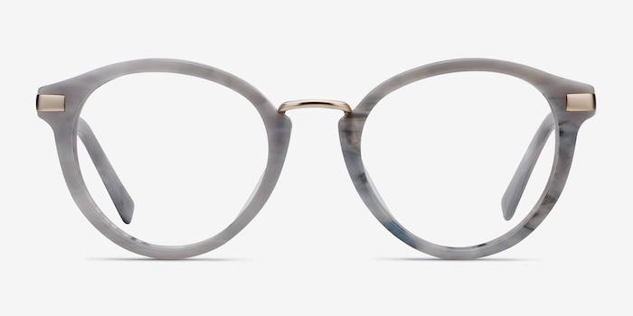 Yuke Light Gray Metal Eyeglass Frames from EyeBuyDirect, Front View
