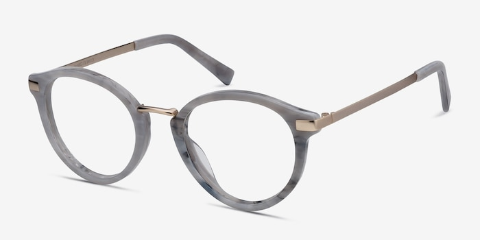 Yuke Light Gray Metal Eyeglass Frames from EyeBuyDirect, Angle View