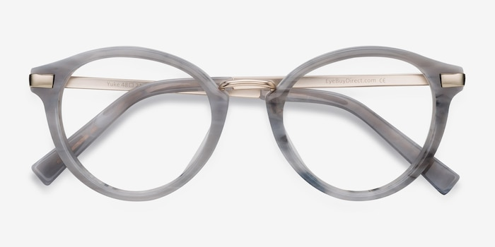 Yuke Light Gray Metal Eyeglass Frames from EyeBuyDirect, Closed View