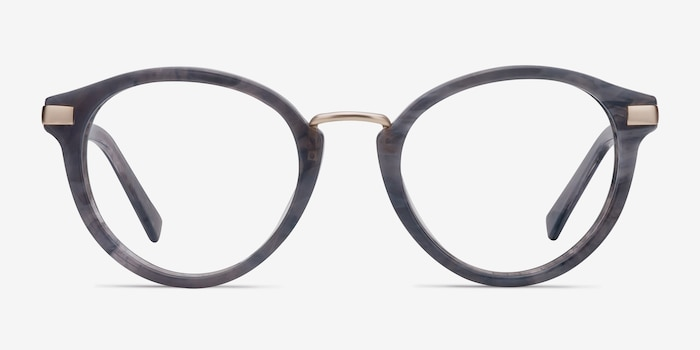 Yuke Dark Gray Acetate-metal Eyeglass Frames from EyeBuyDirect, Front View
