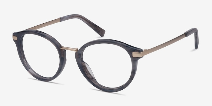 Yuke Dark Gray Acetate Eyeglass Frames from EyeBuyDirect, Angle View