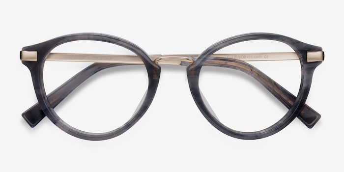 Yuke Dark Gray Metal Eyeglass Frames from EyeBuyDirect, Closed View