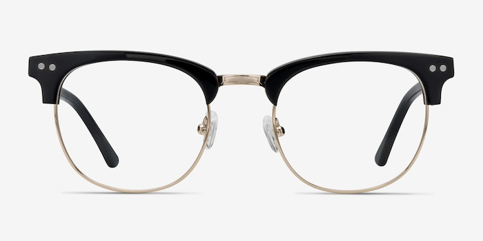 Borderline Black Acetate Eyeglass Frames from EyeBuyDirect, Front View