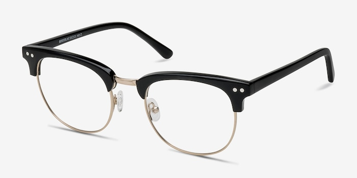 Borderline Black Acetate Eyeglass Frames from EyeBuyDirect, Angle View