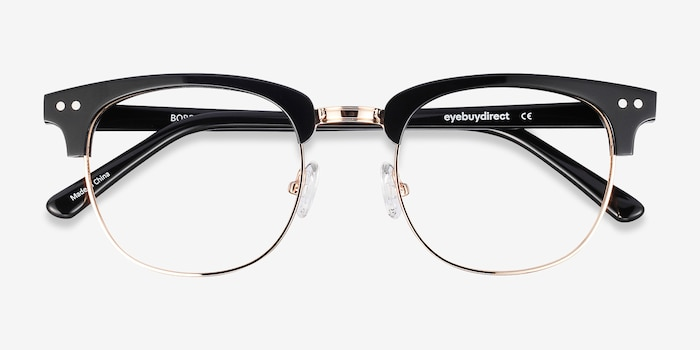 Borderline Black Acetate Eyeglass Frames from EyeBuyDirect, Closed View