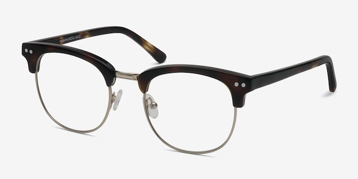 Borderline Tortoise Metal Eyeglass Frames from EyeBuyDirect, Angle View
