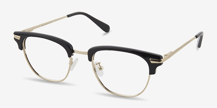 Identity Black Acetate Eyeglass Frames from EyeBuyDirect, Angle View