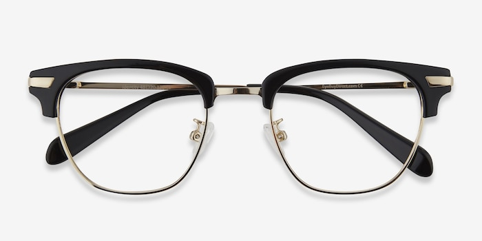 Identity Black Metal Eyeglass Frames from EyeBuyDirect, Closed View