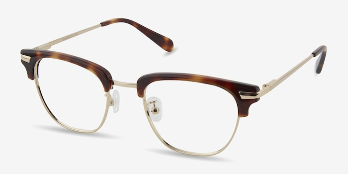 Identity Tortoise Metal Eyeglass Frames from EyeBuyDirect, Angle View