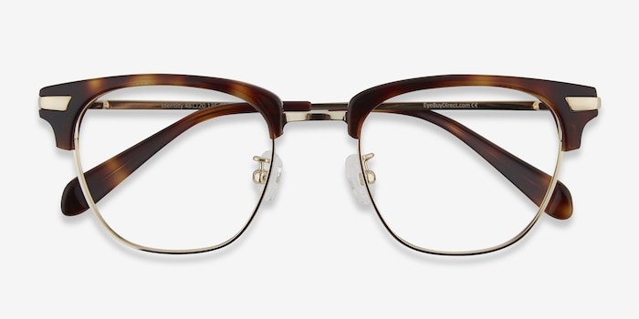 Identity Tortoise Metal Eyeglass Frames from EyeBuyDirect, Closed View