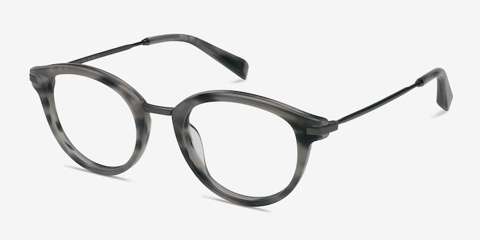 Ginger Gray Striped Acetate Eyeglass Frames from EyeBuyDirect, Angle View