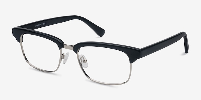 Levy Black Acetate Eyeglass Frames from EyeBuyDirect, Angle View