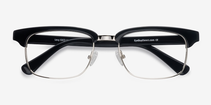 Levy Black Acetate Eyeglass Frames from EyeBuyDirect, Closed View