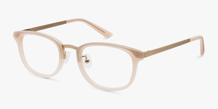 First Light Pink Acetate Eyeglass Frames from EyeBuyDirect, Angle View