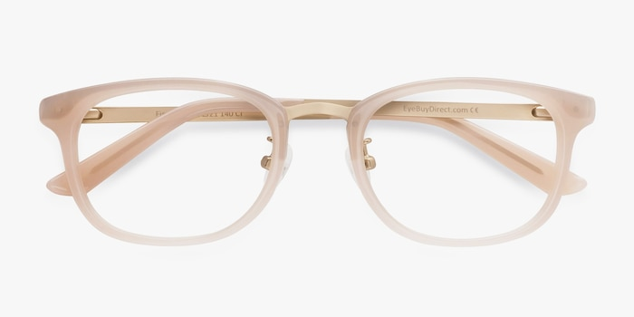 First Light Pink Acetate Eyeglass Frames from EyeBuyDirect, Closed View